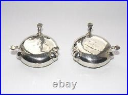 18th Century George II Solid Silver Sterling Pair Of Salt Cellars London 1747