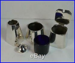 1928 Art Deco English Silver Plain Three Piece Cruet Set