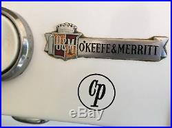 1950's O'keefe & Merritt gas stove whit with clock and salt and pepper shaker