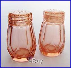 19c. Antique Crystal Pink Glass Salt & Pepper Shaker Set