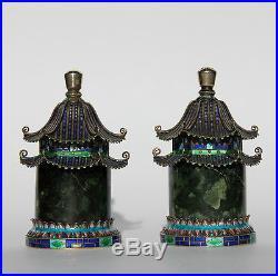 2 Chinese filigree silver enamel pagodas for salt and pepper. Vintage