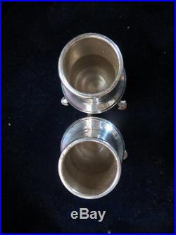 2 Pairs Cartier Redlich Sterling Silver Hoof Foot Open Salts Pepper Shakers