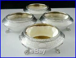 4 Antique Silver Salt Cauldrons, Walter & John Barnard, London 1878