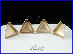 4 Antique Silver Triangular Salt Cellars, Sheffield 1885, Henry Atkin
