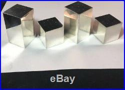 4 Pc Set Tiffany Sterling Silver Modernist Salt & Pepper Shakers Block Form #575