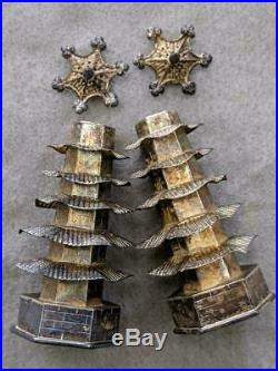 4 X 1900s CHINA CHINESE SOLID SILVER PAGODA SALT & PEPPER SHAKER WITH HALLMARK
