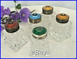 5 Set Vintage Enamel Sterling Silver Cut Crystal Norway Salt Pepper Shakers