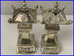 58g Sterling Silver JAPANESE LANTERN Salt Pepper shakers 1 Needs Repair