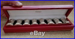 8 Cartier Sterling Silver Mini Salt & Pepper Shakers Boxed 1 1/2 Octagonal
