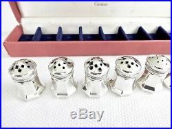 8 Vintage Cartier Sterling Silver Salt & Pepper Shakers, Orig. Case, No Dents