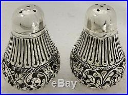925 Sterling Silver Salt & Pepper Shakers Set Antique Floral Work Gift