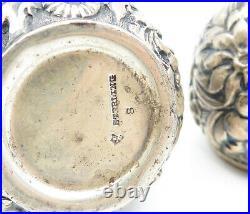 925 Sterling Silver Vintage Antique Floral Salt & Pepper Shakers T2246