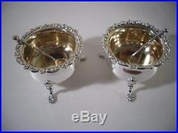 A Cased Pair of Antique Silver Salts & Spoons Sheffield 1894