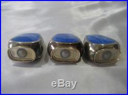 A. Michelsen Sterling Silver Guilloche Enamel Set Of 3 Salt And Pepper Shakers