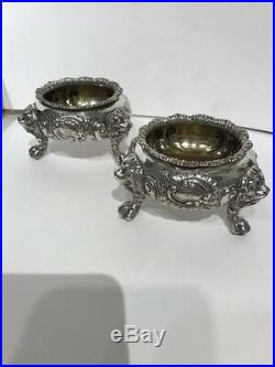 A PAIR OF VICTORIAN SILVER SALTS LONDON 1847 by EDWARD FARRELL