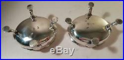 A Pair of Antique George II Silver Salts w Liners & Spoons London 1759