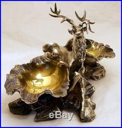A very rare cast solid silver salt cellar with a seated stag, John S Hunt. Londo