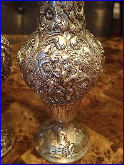 Antique 19th C. Repousse 800 Silver Art Nouveau Salt & Pepper Shakers H 7,5'