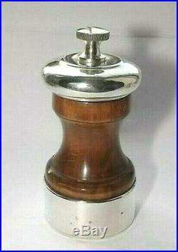 ANTIQUE FRENCH PEUGEOT FRERES STERLING SILVER & WOOD PEPPER MILL, GRINDER c1920