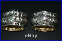 ANTIQUE FRENCH STERLING SILVER AND CRYSTAL SALT & PEPPER SET WithBOX