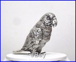 Antique & Large German Solid Silver Salt Pepper Shaker Parrot Bird Sculpture