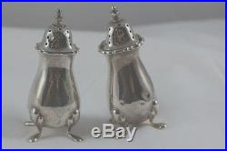 ANTIQUE STERLING SILVER SALT & PEPPER SHAKERS HALLMARKED MADE in ENGLAND
