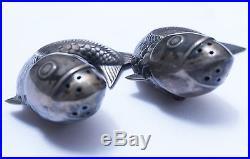 ANTIQUE Sterling silver cod fish salt & pepper shaker set by NorwegianJ. Tostrup