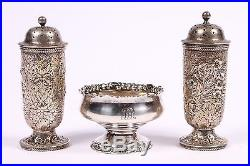 Antique Tiffany Sterling Silver Salt And Pepper Shakers And A Master Salt Bowl