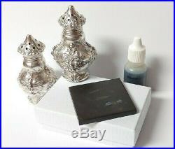 ANTIQUE Vintage STERLING SILVER REPOUSSE FLORAL FLOWER SALT & PEPPER Shakers Set