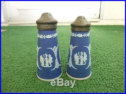 Antique Wedgewood Jasperware Salt & Pepper Shakers Cobalt Blue