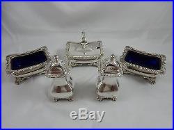 ASPREY, solid silver LARGE CONDIMENT SET, 1977