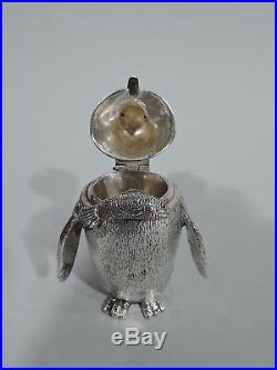 Alfred Dunhill Condiment Set Figural Penguins Birds English Sterling Silver
