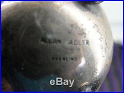 Allan Adler Salt & Pepper Shakers Sterling Silver Mid Century As Is