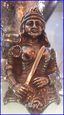 Antique 19th C Solid Silver Rare Salt/pepper Shaker Russian Women Warrior