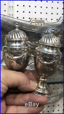 Antique 19thC Victorian Solid Silver Pr Salt & Pepper Pot Sheffield 1896 W &hall