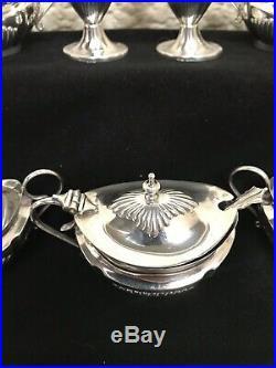 Antique 7 piece SILVER cruet set by C. T. Burrows & Sons- Birmingham 1912