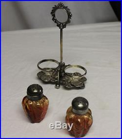 Antique Amberina Art Glass Salt & Pepper Shakers in M & B Holder