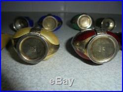 Antique Art Deco Norwegian Silver Gilt (925) and Enamel Cruets (Salts & Peppers)
