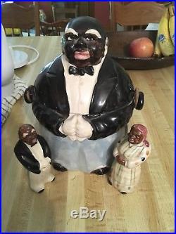 Antique Black americana Butler Cookie Jar With Salt & Pepper shakers