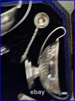 Antique Boxed Set Of Four Boat Shaped Silver Salts With Looped Handles 1897