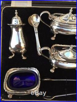 Antique Cased 6 Pce Solid Silver Cruet Set Chippendale Style Hc Davies Birm 1935