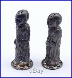 Antique Chinese LI SHENG sterling silver figural salt and pepper shaker