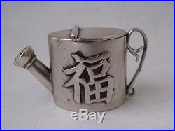 Antique Chinese Solid Silver Watering Can Shape PEPPER Pot c. 1900