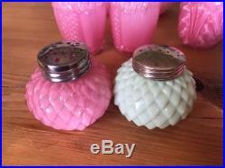 Antique EAPG Colored Glass Salt & Pepper Shakers Lot 4 Pastel 7 Sets