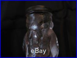 Antique EAPG Glass Ben Benjamin Franklin Figural Salt & Pepper Shakers, C1875