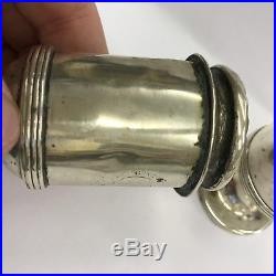 Antique Early Mid 19th Century Salt And Pepper Shaker Crested Solid Silver 8cm