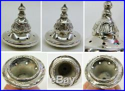 Antique Enameled Art Glass Salt & Pepper Shaker Set Meriden Silverplate Holder