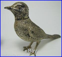 Antique Firgural Birds Silverplate Salt Pepper Shaker Set pheasant quail pair