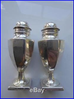 Antique Fordham & Faulkner 1908 Solid Silver Salt & Pepper Cellars Shaker Set