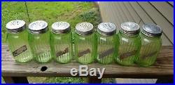 Antique GREEN 7 DEPRESSION Glass Salt & Pepper Shaker 5 LOT 7 Lid atlas hocking
